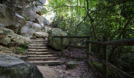 Kentucky Hiking Trail. Hiking trail through the rocky terrain of eastern Kentuckys Natural Bridge State Park. The park features many arches and the rugged terrain of Kentuckys Appalachian Mountains