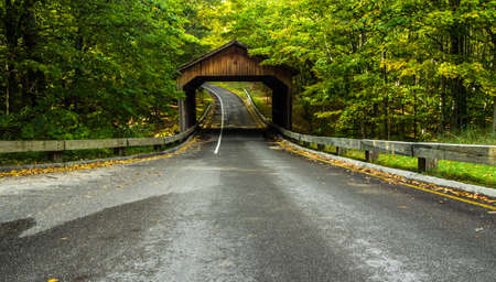 blacktop: Country Road. One lane road on scenic Lakeshore Drive in the northern Michigan forest with a wooden covered bridge. Sleeping Bear Dunes National Lakeshore. Empire, Michigan. Stock Photo