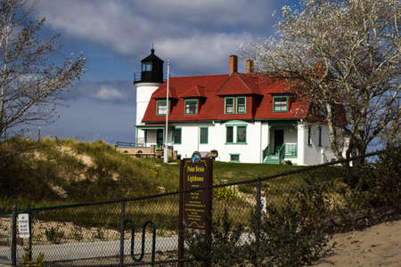 Classic American Lighthouse. Beautiful Point Betsie Lighthouse on the shores of Lake Michigan is one of Michigans most beloved landmarks.