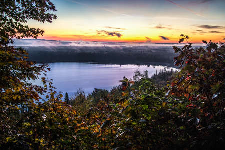 Michigan Panoramic Sunrise Lake Scenic Background. Scenic sunrise panorama at the Mission Hill Overlook on the Bay Mills Reservation in the Upper Peninsula of Michigan. 版權商用圖片