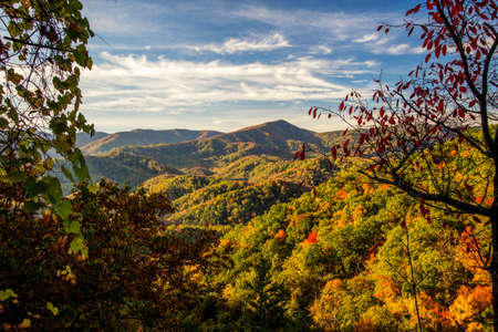 Smoky Mountains Autumn Landscapes. Autumn colors from an overlook in the Great Smoky Mountains National Park Stock fotó