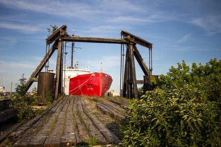Mackinaw City, Michigan, USA - July 25, 2017: Hull of the retired US Coast Guard Icebreaker Mackinaw. The former icebreaker operates as a museum in Mackinaw City, Michigan. Editorial