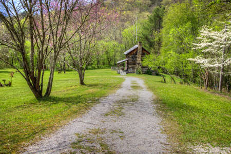 Kentucky In The Spring. Traditional log cabin home in an Appalachian Mountain valley surrounded by flowering azaleas and dogwood trees.