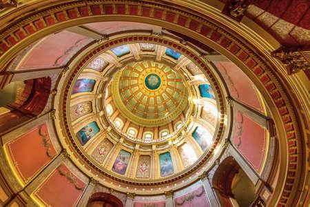 Lansing, Michigan, USA - January 20, 2018: The rotunda of the Michigan State Capitol building in downtown Lansing Michigan.
