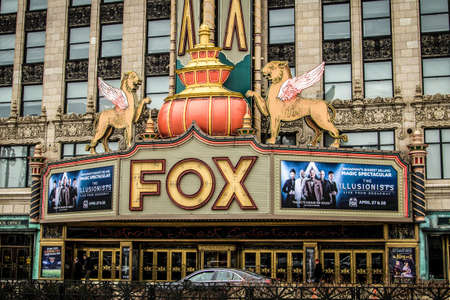 Detroit, Michigan, USA - March 28, 2018: Exterior of the historic Fox Theater in downtown Detroit. The Fox opened in 1928 and continues to operate today