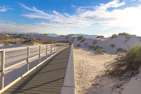 Handicapped Accessible Hiking Trail. Boardwalk accessible hiking trail through the beautiful American southwest desert of White Sands National Monument near Alamogordo, New Mexico