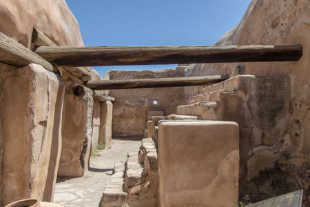 Historic Native Pueblo Interior. Empty interior of ancient adobe in the American Southwest desert at Tumacacori National Park in Arizona.