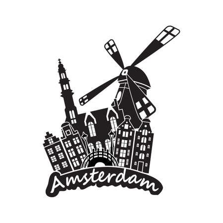 Amsterdam Skyline black Illustration