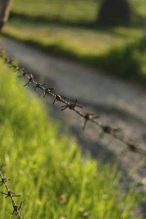 est: Section of barbed wire fence, Est Europe, Romania. Stock Photo