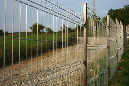 wire fence: Welded wire fence. Stock Photo