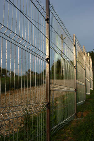 welded: Welded wire fence. Stock Photo