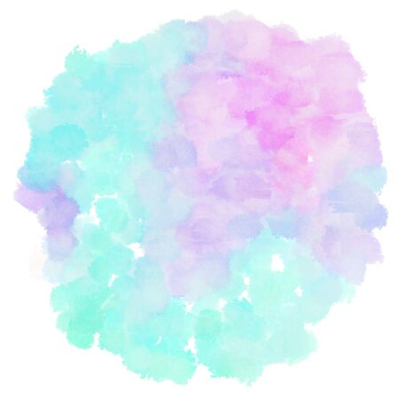 circular painting with pale turquoise, lavender and aqua marine watercolor graphic background illustration.