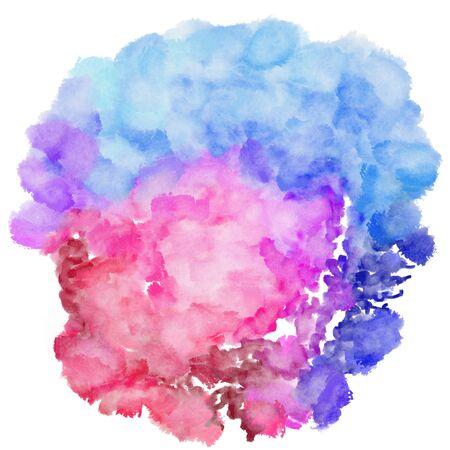 circulaire schilderij met pastel violet, pruimen en moerbei aquarel grafische achtergrond illustratie. Stockfoto