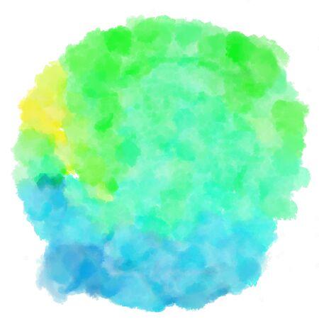 circular watercolour painting. aqua marine, medium turquoise and khaki colors.