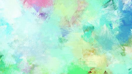 brush painting with mixed colours of powder blue, pale turquoise and light sea green. abstract grunge art for use as background, texture or design element. Imagens