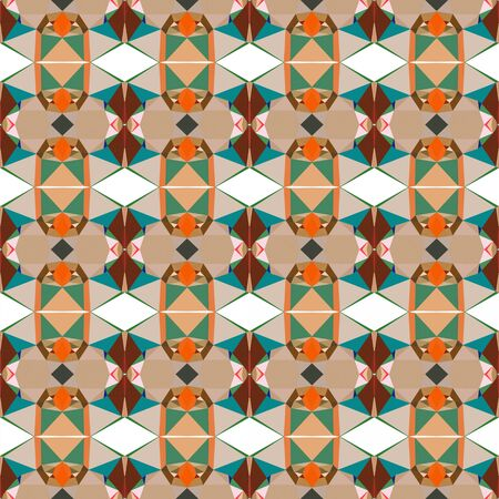 seamless wallpaper pattern with tan, sea green and saddle brown colors. Banco de Imagens