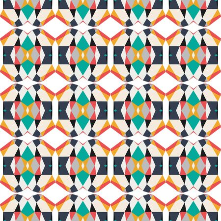 seamless repeatable pattern wallpaper with dark slate gray, coral and antique white colors. 写真素材