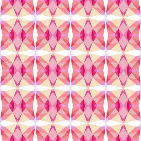 seamless repeating geometric pattern with pastel magenta, crimson and bisque colors.