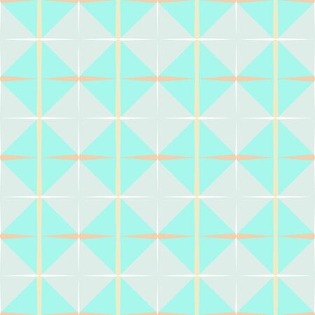 seamless repeating geometric pattern with pale turquoise, lavender and wheat colors.