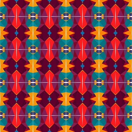 simple seamless abstract pattern with very dark magenta, orange red and dark pink colors. Stock Photo