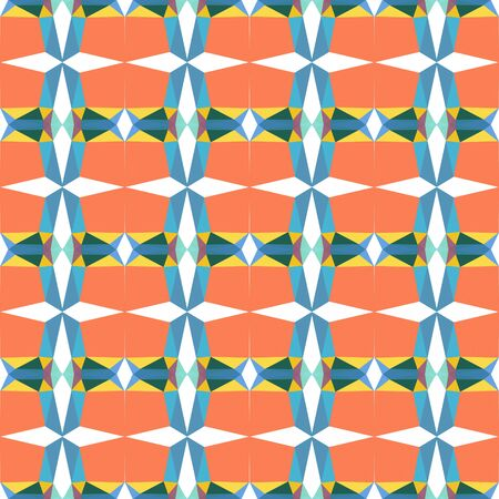 seamless repeating geometric pattern with coral, steel blue and pastel orange colors. 写真素材