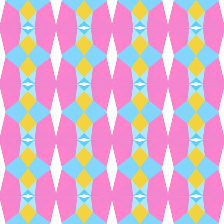 seamless repeating pattern abstract with light sky blue, pastel orange and pastel magenta colors.