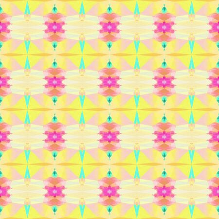 seamless vintage pattern with pale golden rod, turquoise and neon fuchsia colors. repeating background illustration can be used for wallpaper, wrapping paper or textile fashion design.