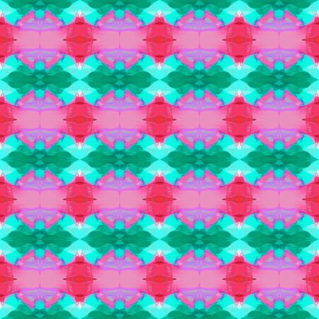 seamless vintage pattern with light sea green, hot pink and baby blue colors. repeating background illustration can be used for wallpaper, wrapping paper or textile fashion design. Фото со стока - 129909677