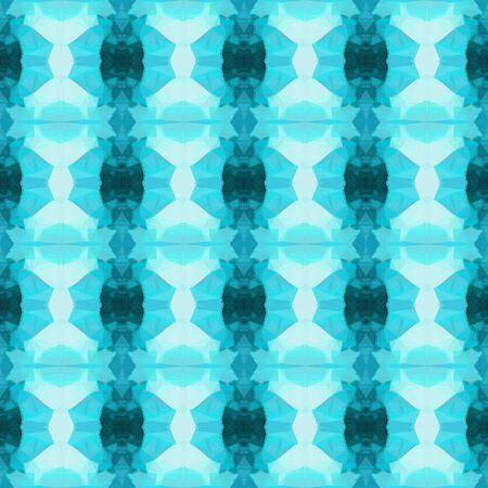 seamless retro pattern with medium turquoise, teal green and pale turquoise colors. repeating background illustration can be used for wallpaper, creative backgrounds or textile fashion design. Stock Photo