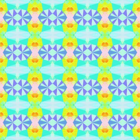 seamless vintage pattern with powder blue, green yellow and pale turquoise colors. repeating background illustration can be used for wallpaper, cards or textile fashion design.