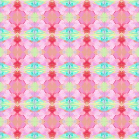seamless geometric pattern with thistle, baby pink and turquoise colors. repeating background illustration can be used for wallpaper, wrapping paper or textile fashion design.