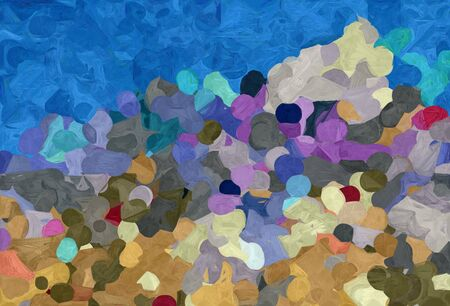 abstract decoration painting style with steel blue, teal blue and tan colors.