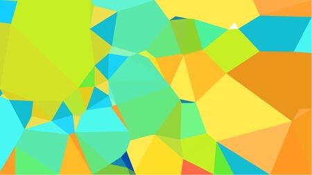 abstract geometric background with turquoise, vivid orange and pastel green color triangles. can be used for wallpaper, poster, cards or graphic elements. 스톡 콘텐츠