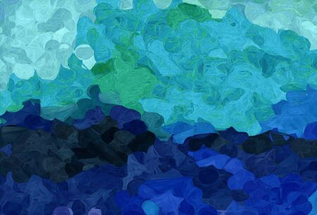 abstract creative painting style with light sea green, midnight blue and sky blue colors.