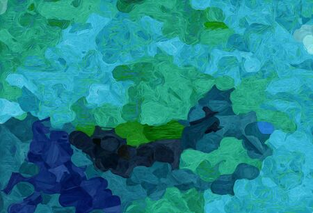 abstract decoration painting style with light sea green, dark cyan and very dark blue colors. Stock Photo
