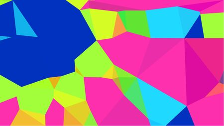 abstract geometric background with strong blue, green yellow and deep pink color triangles. can be used for wallpaper, poster, cards or graphic elements. Stock Photo - 130149962