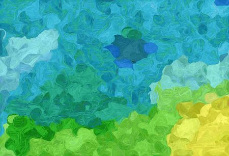 abstract creative painting style with light sea green, dark khaki and lime green colors.