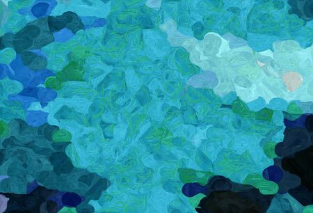 abstract decoration painting style with light sea green, very dark blue and teal green colors.