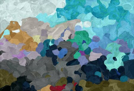 abstract decoration painting style with dim gray, teal blue and pastel gray colors.