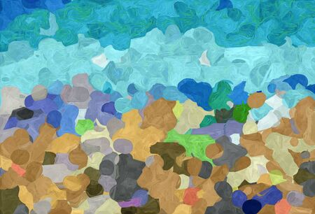 abstract decoration painting style with cadet blue, sky blue and tan colors. Stock Photo