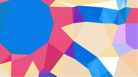 colorful triangles background with dodger blue, baby pink and mulberry  colors. can be used for wallpaper, poster, cards or graphic elements. Stock Photo
