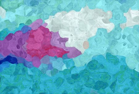 abstract creative painting style with medium turquoise, light gray and antique fuchsia colors.