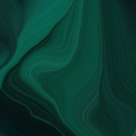 quadratic graphic illustration with very dark blue, teal green and black colors. abstract fractal swirl motion waves. can be used as wallpaper, background graphic or texture. 写真素材