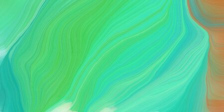 wave lines from top left to bottom right. background illustration with medium aqua marine, dark khaki and dark sea green colors. 写真素材