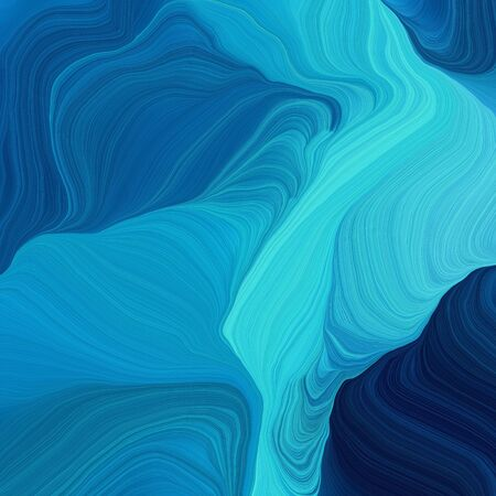 square graphic illustration with dark cyan, strong blue and very dark blue colors. abstract fractal swirl motion waves. can be used as wallpaper, background graphic or texture.