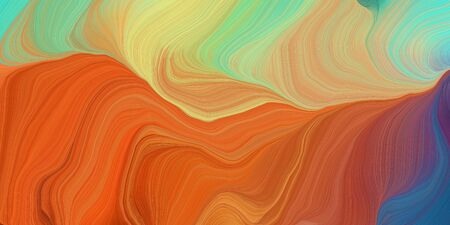 abstract colorful waves motion. can be used as wallpaper, background graphic or texture. graphic illustration with coffee, dark khaki and teal blue colors. Zdjęcie Seryjne - 133418311