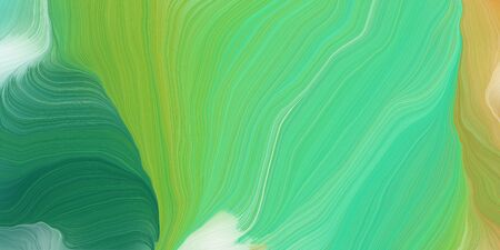 curved motion speed lines background or backdrop with pastel green, tan and sea green colors. dreamy digital abstract art.