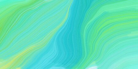 curved lines background or backdrop with medium aqua marine, light sea green and pastel green colors. dreamy digital abstract art. Фото со стока