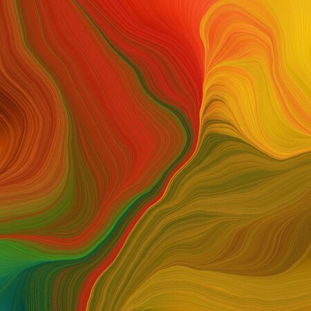 quadratic graphic illustration with saddle brown, dark olive green and golden rod colors. abstract colorful waves motion. can be used as wallpaper, background graphic or texture.