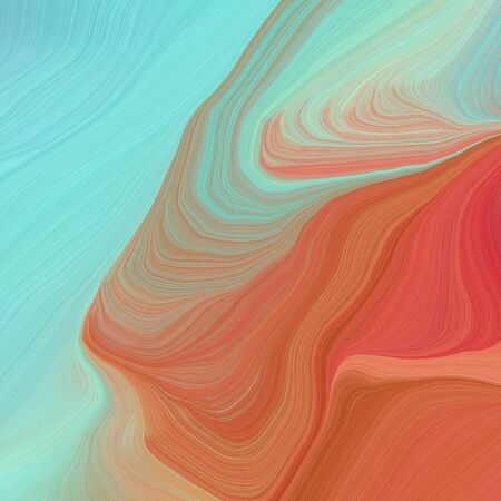 square graphic illustration with pastel blue, sky blue and coffee colors. abstract design swirl waves. can be used as wallpaper, background graphic or texture.